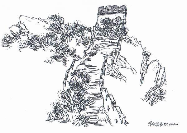 手绘铅笔画长城