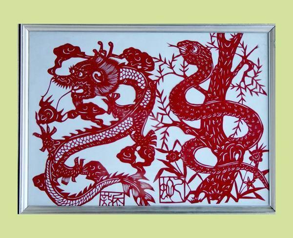 孟荣华:十二生肖之龙、蛇(剪纸)