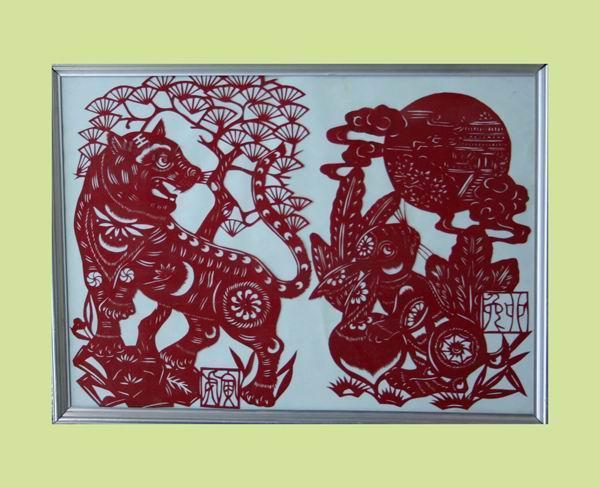 孟荣华:十二生肖之虎、兔(剪纸)